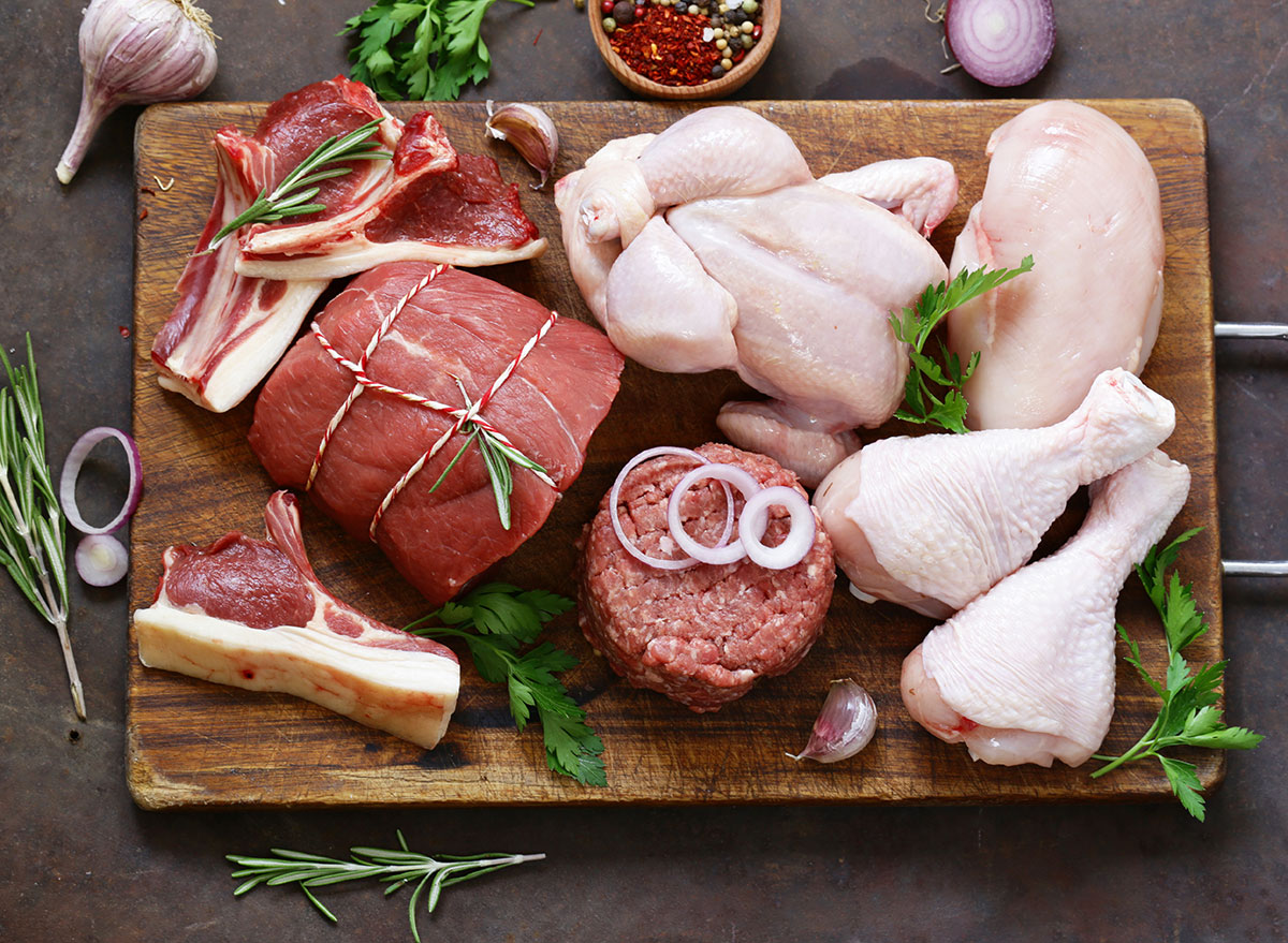 assortment of organic meats
