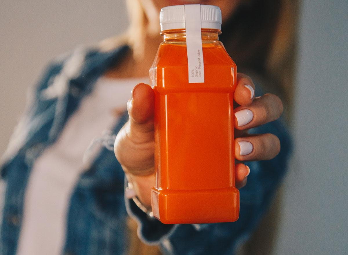 Bottled orange smoothie