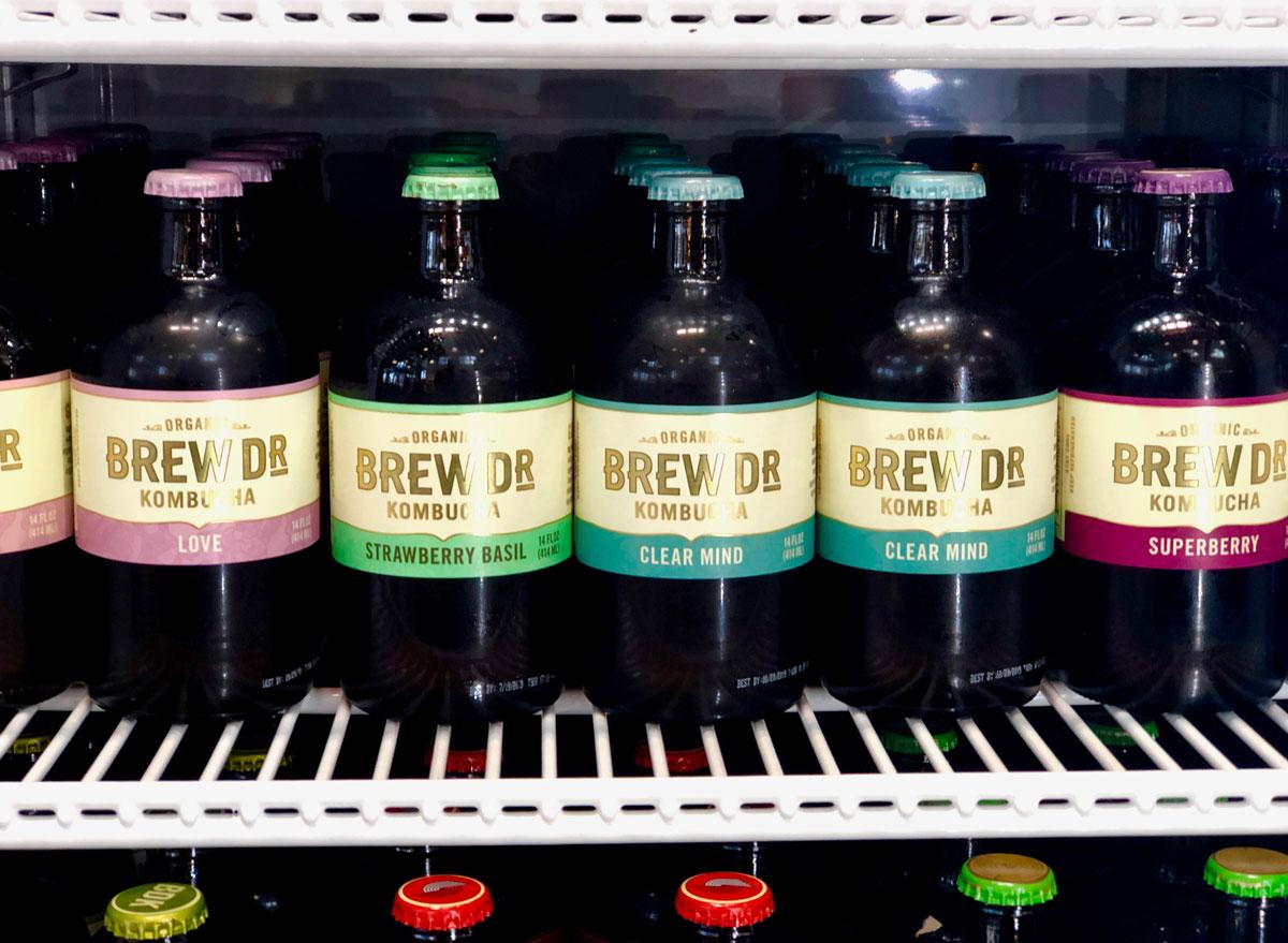 Brew dr kombucha bottles in fridge