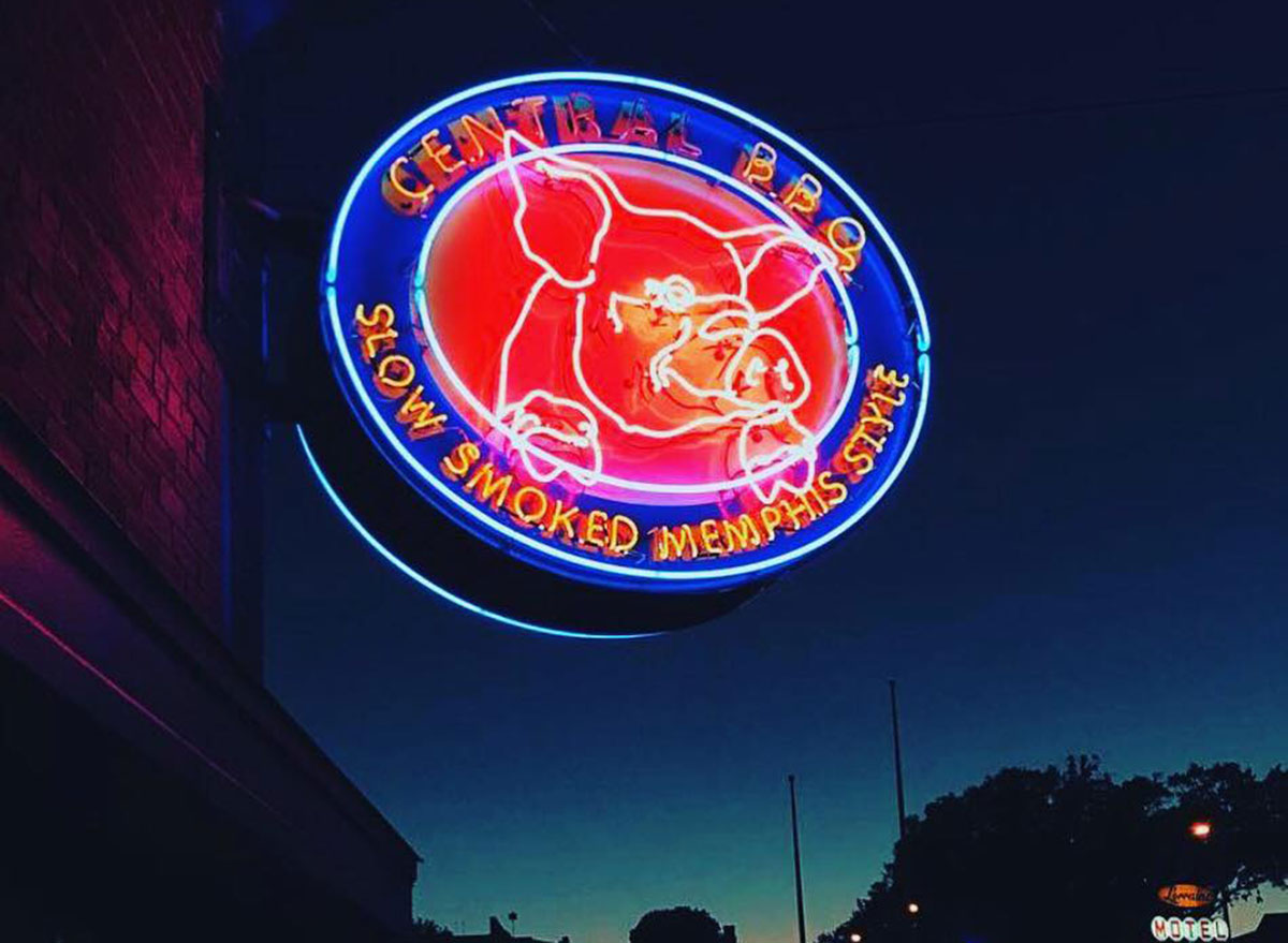 central bbq slow smoked memphis style neon sign