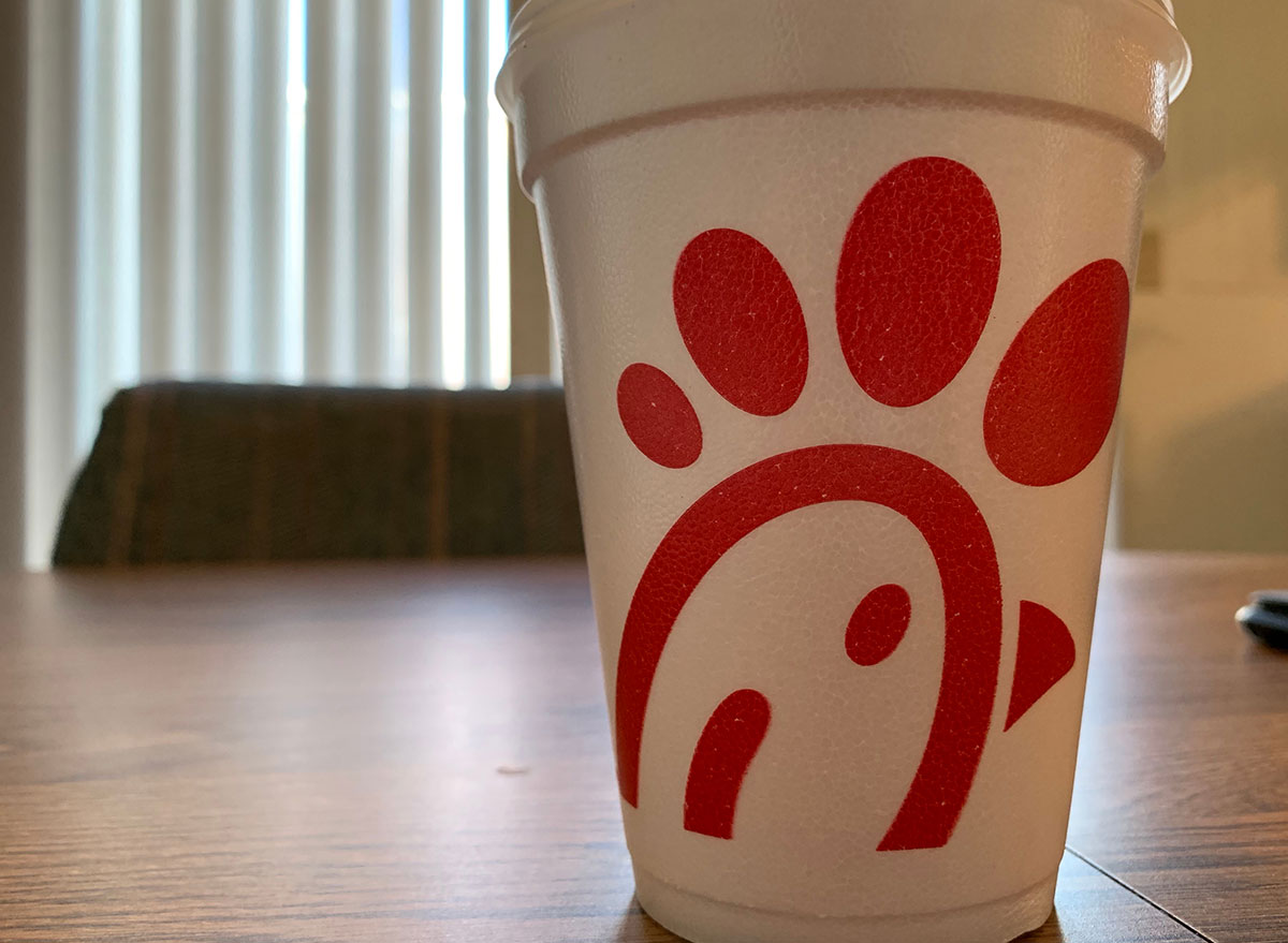styrofoam chick-fil-a cup on table