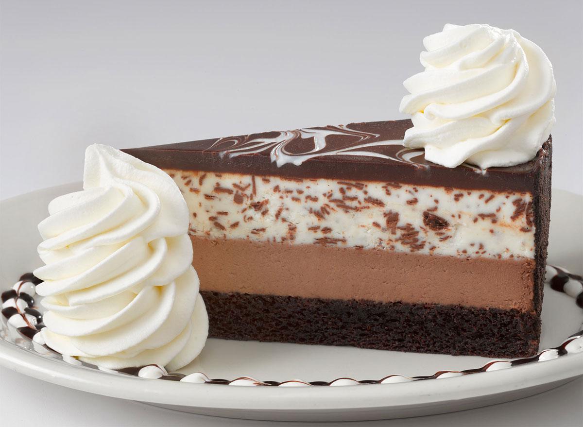 cheesecake factory chocolate tuxedo cream cheesecake slice
