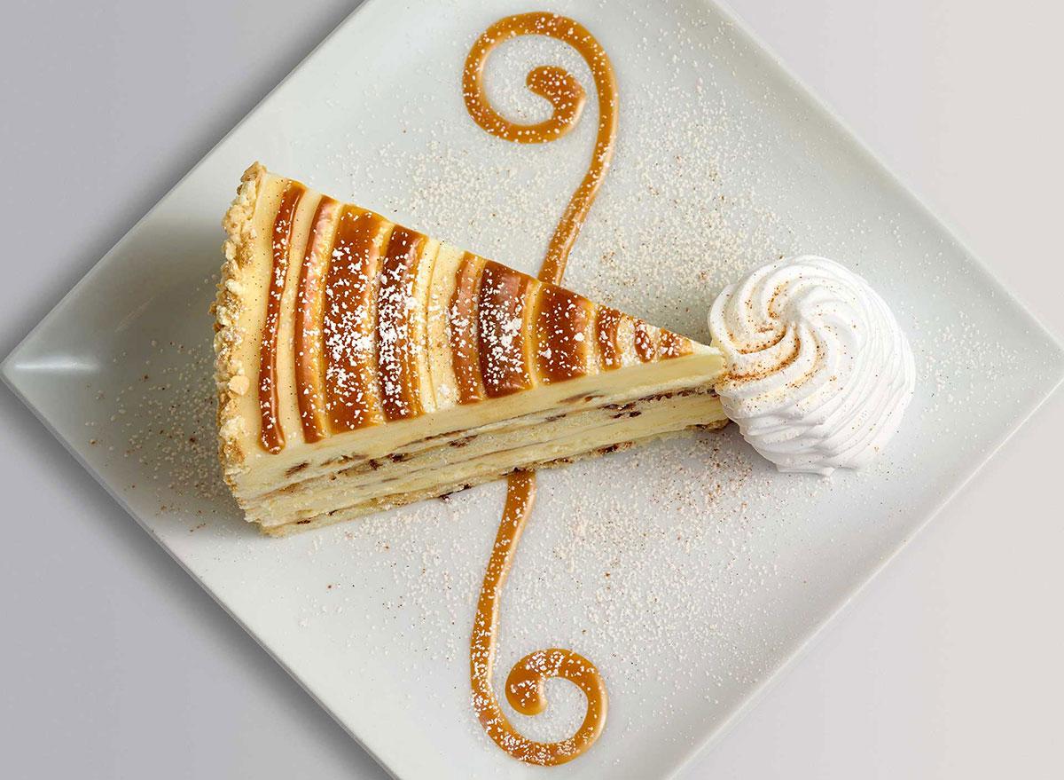 cheesecake factory cinnabon cinnamon swirl cheesecake slice