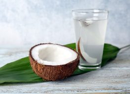coconut water on leaf