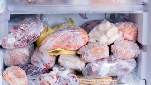 crowded frozen food in freezer