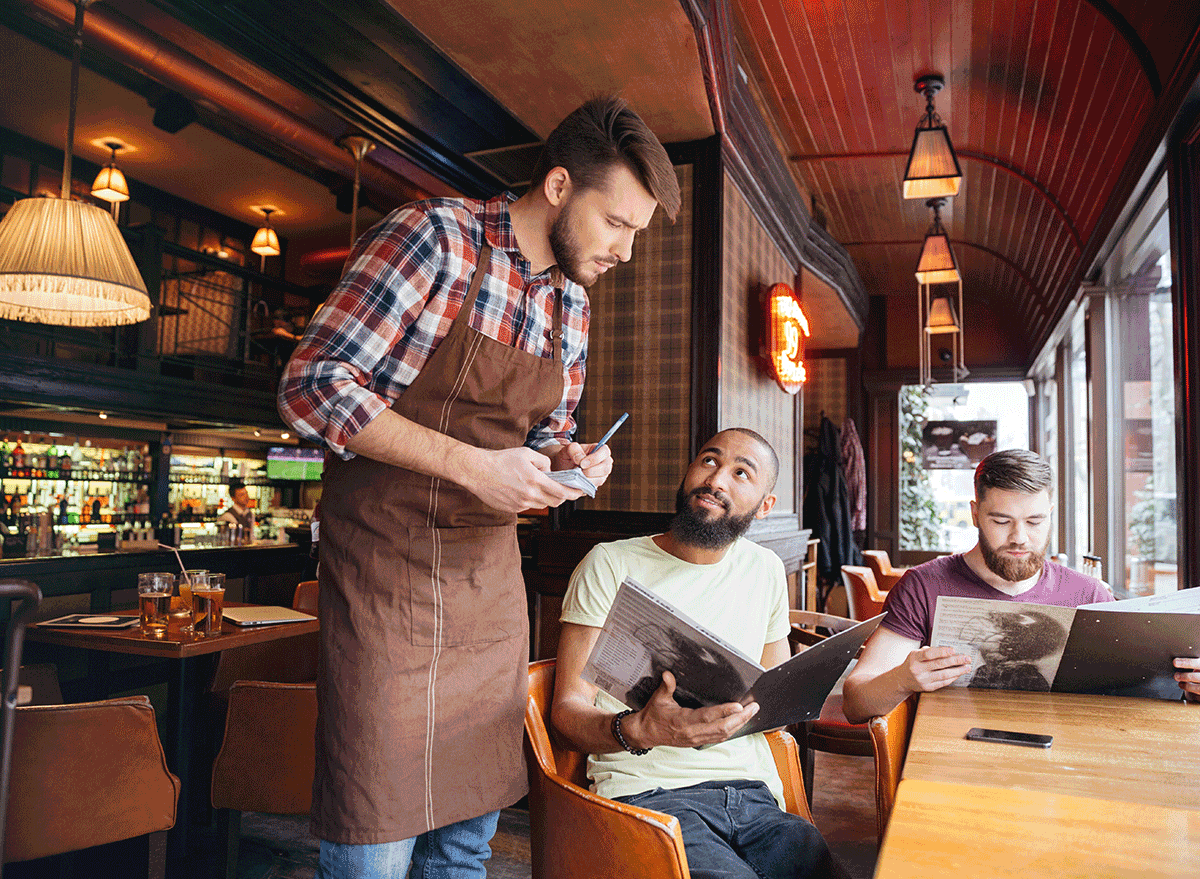 customer asking questions to server about menu