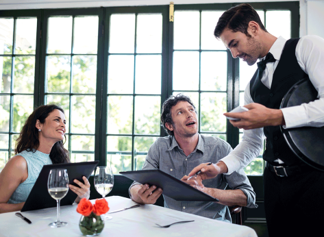 customer asking question with date about menu to waiter