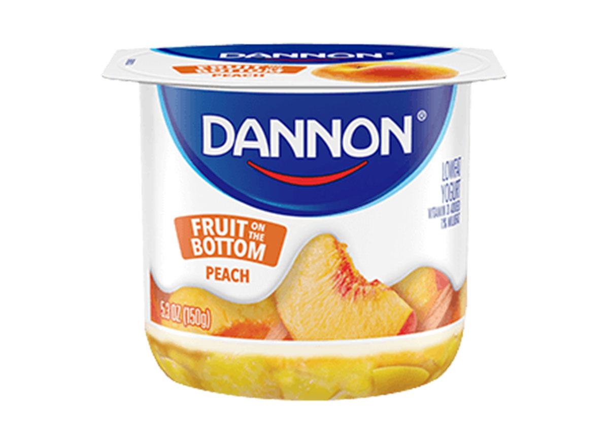 Dannon peach fruit on the bottom yogurt 5.3 oz cup