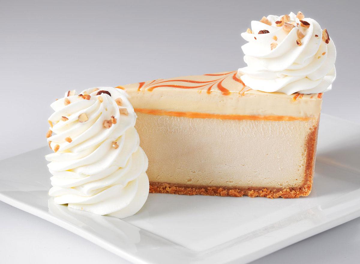cheesecake factory dulce de leche caramel cheesecake slice
