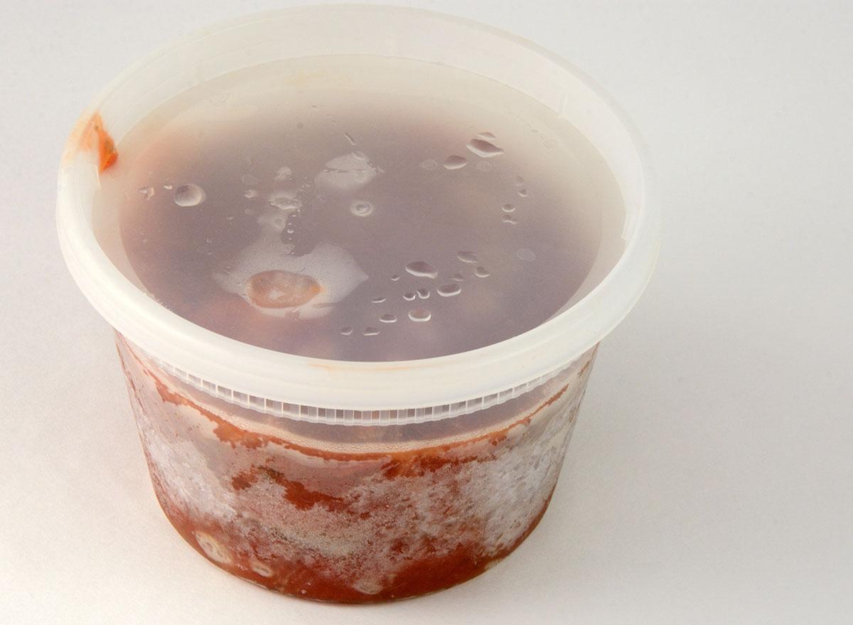 frozen liquid in freezer burned tub