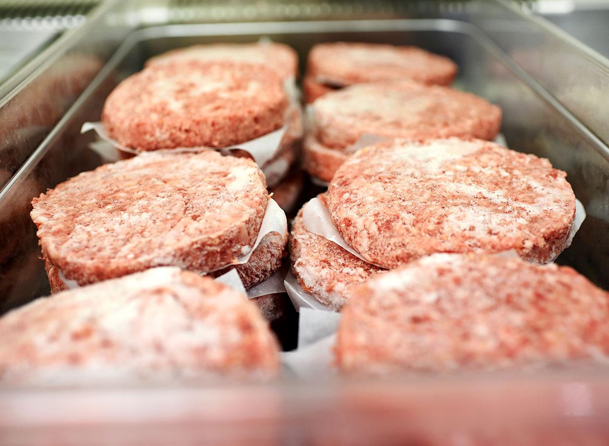 frozen meat patties in metal box