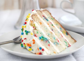 Funfetti cake slice on plate with spoon