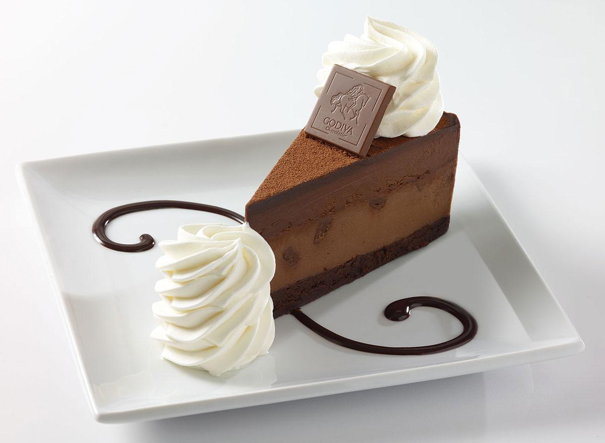 cheesecake factory godiva chocolate cheesecake slice