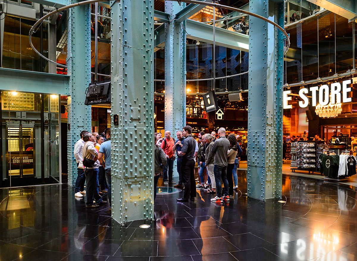 guinness store tour group in lobby