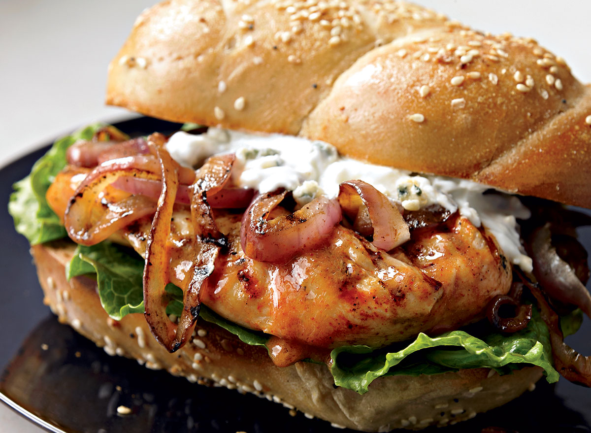 healthy buffalo chicken and blue cheese sandwich