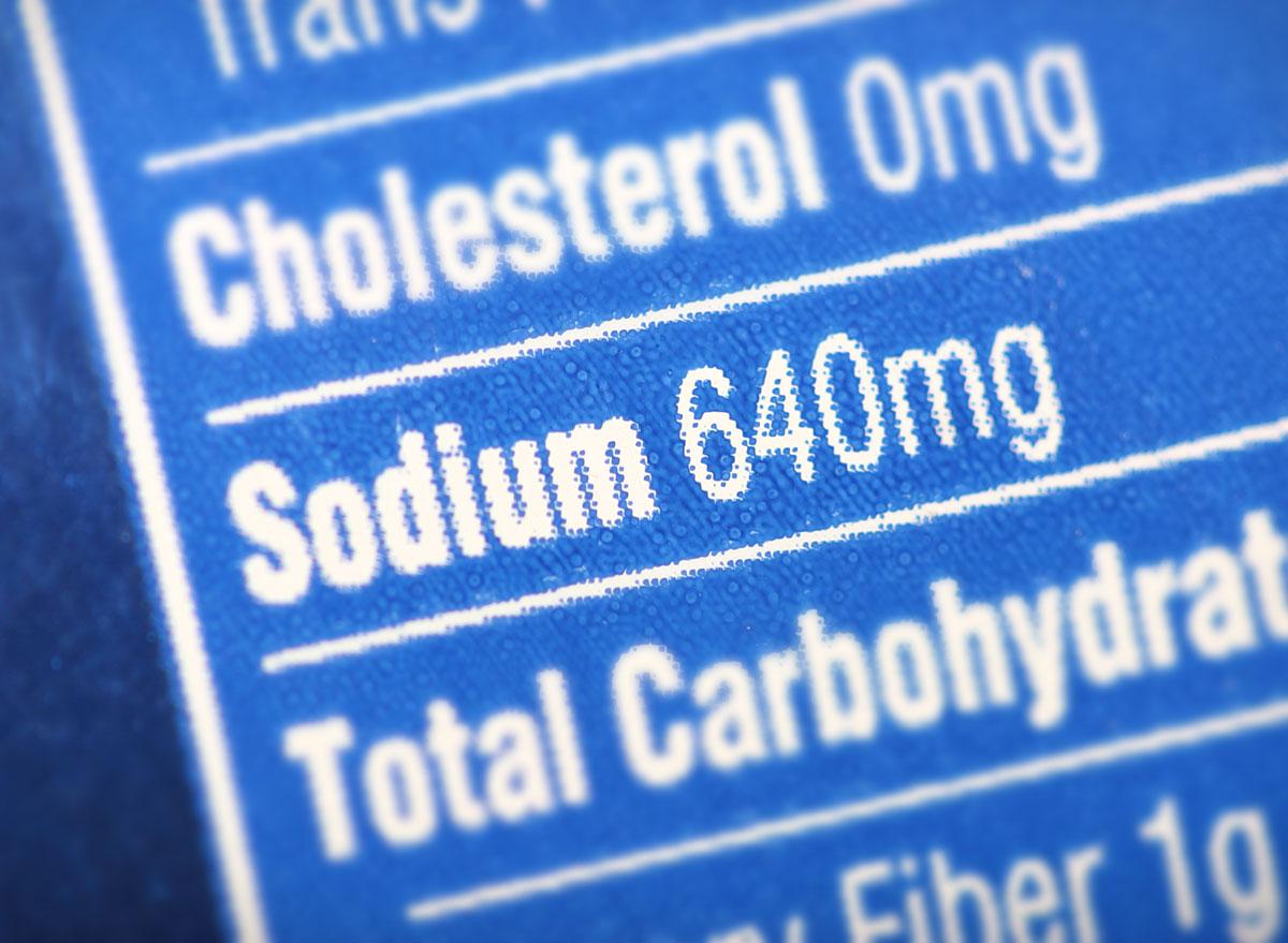 high sodium nutrition label