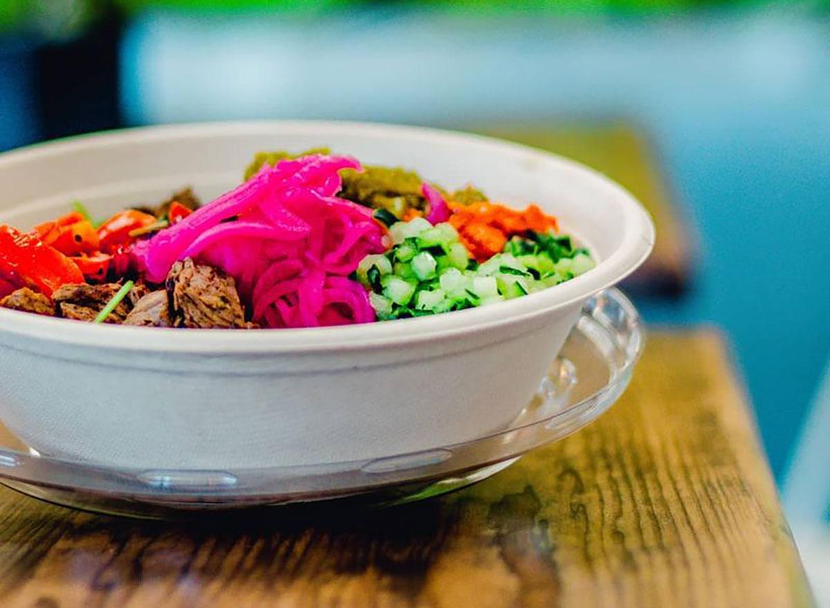 hummus restaurant bowl on table