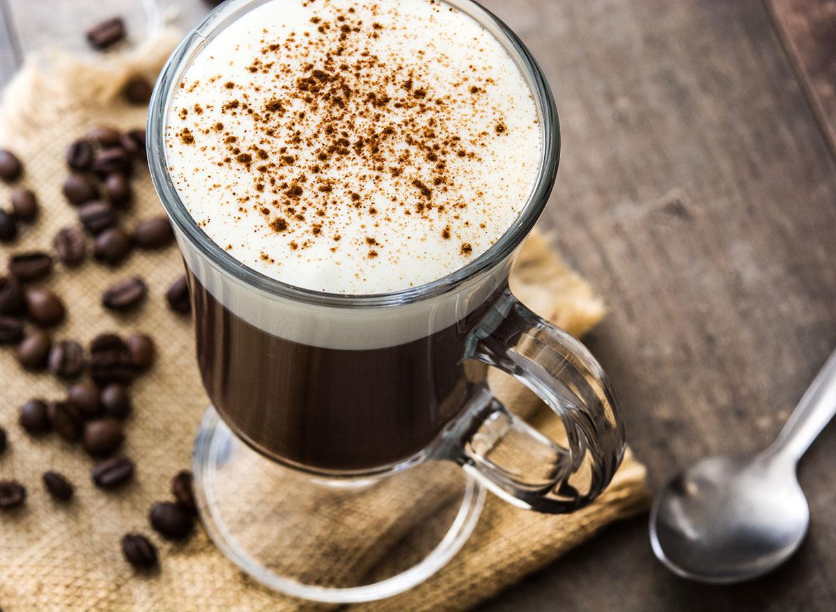 irish coffee cocktail in tall glass mugs