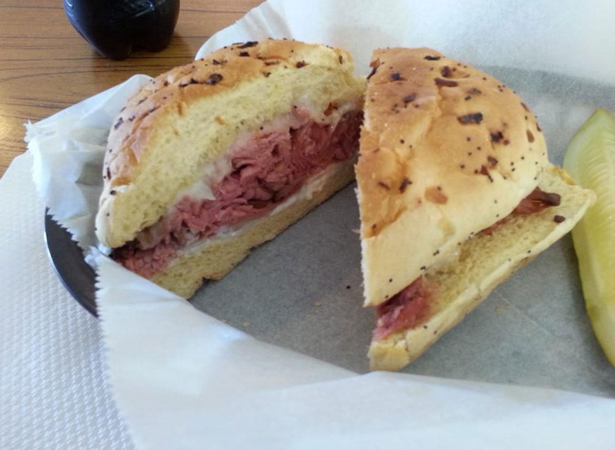 jons roast beef deli roast beef onion bread sandwich