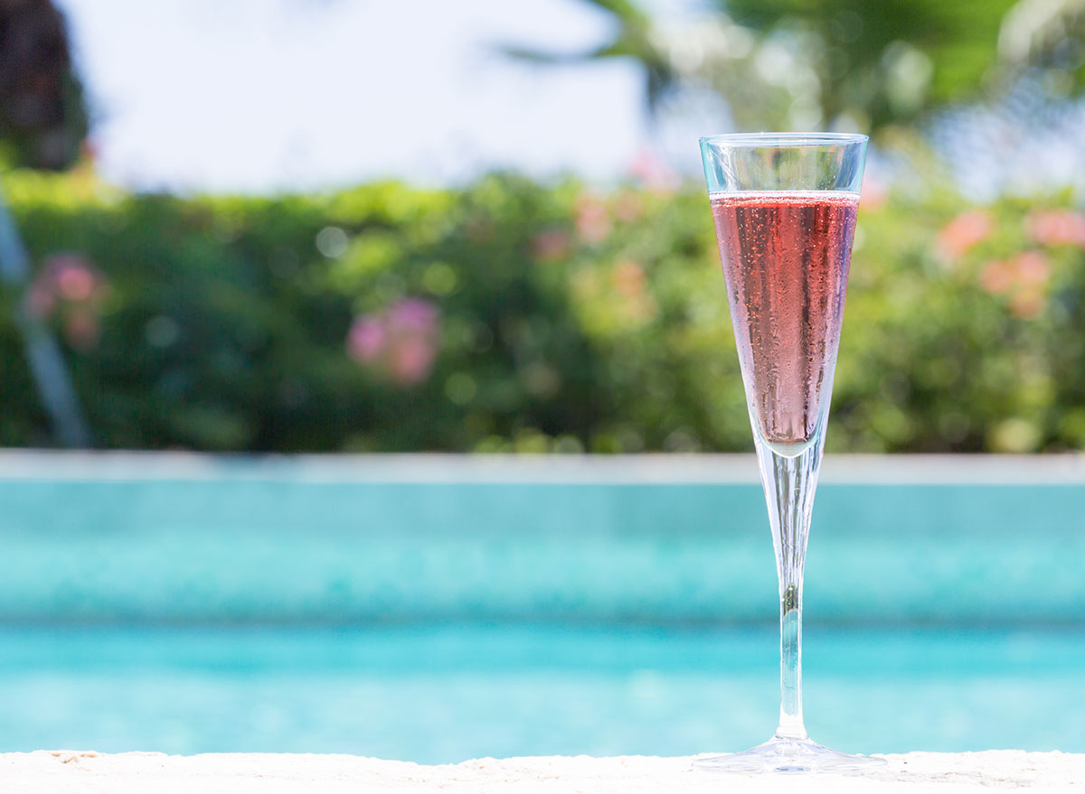 kir royal cocktail in tall champagne glass