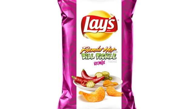 lays flaming hot dill pickle flavored chips bag