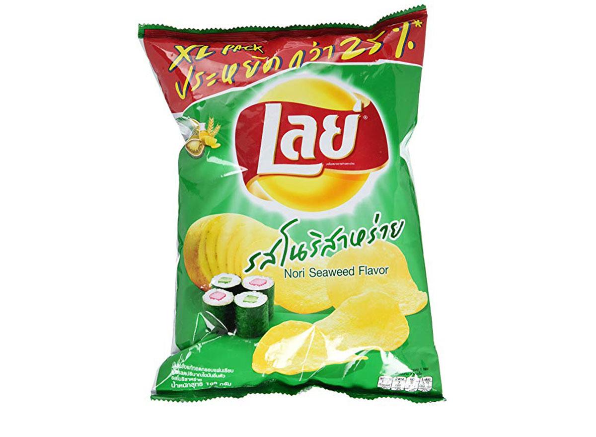 lays nori seaweed flavored chips bag