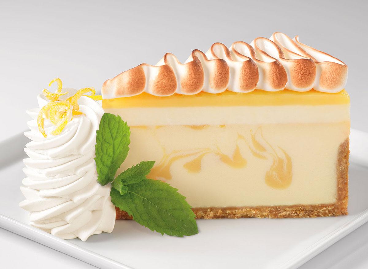 cheesecake factory lemon meringue cheesecake slice