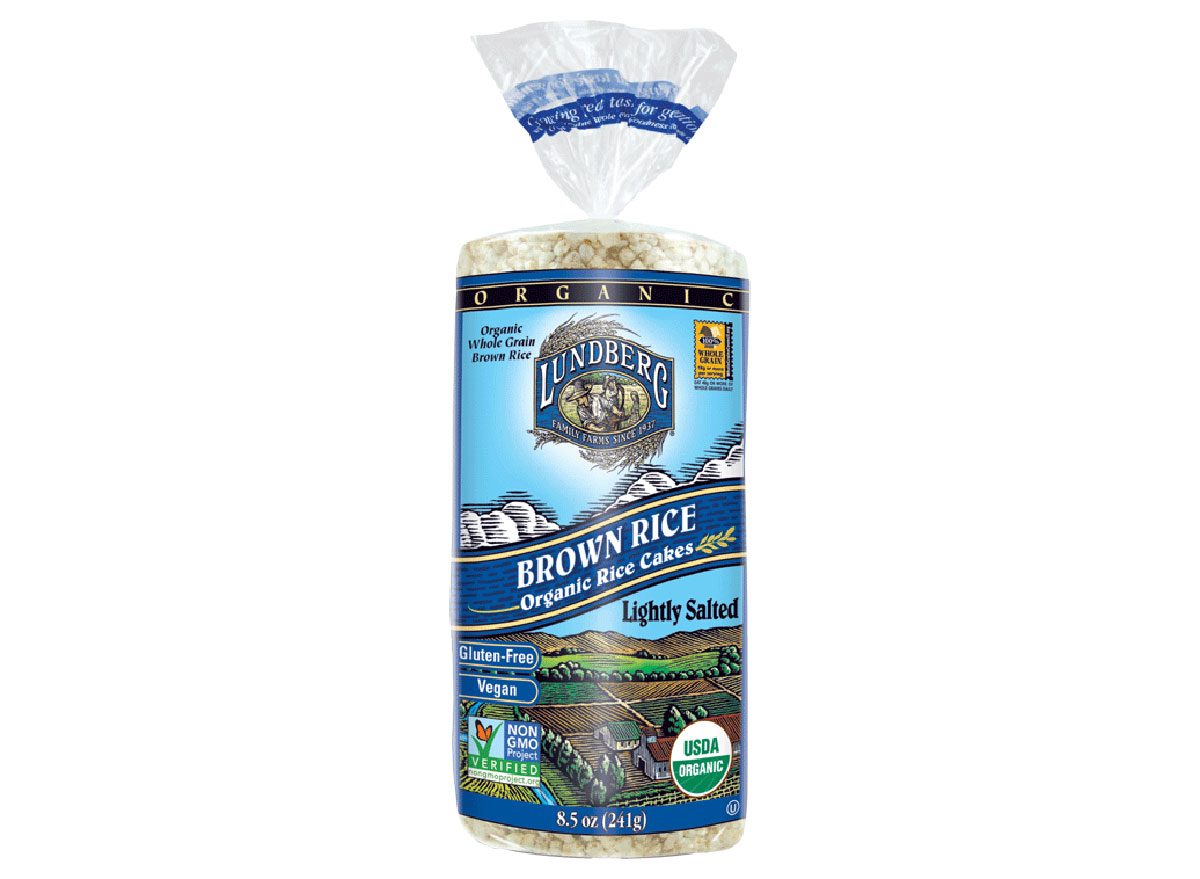 lundberg family farms organic brown rice cakes bag
