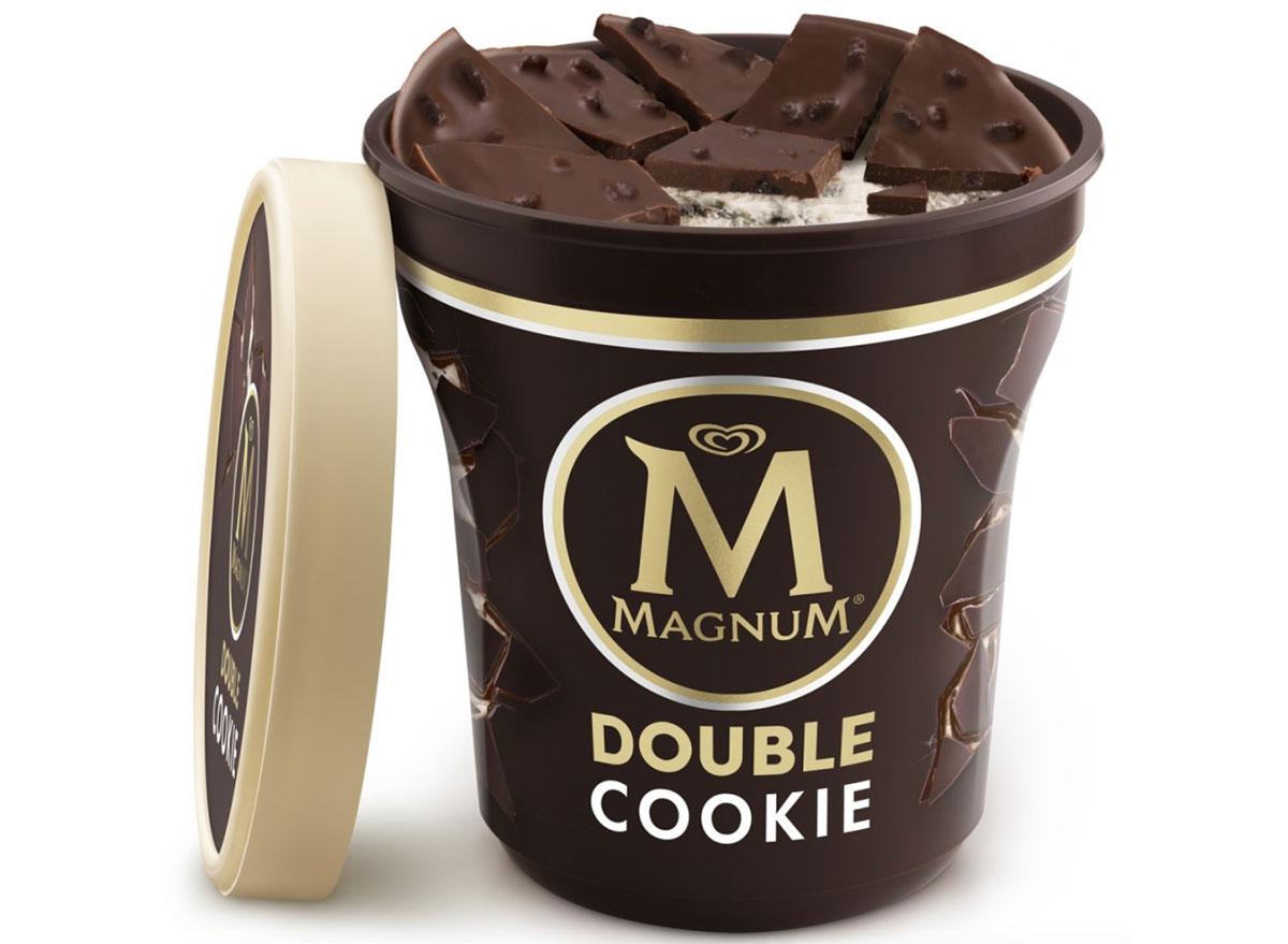 magnum double cookie crumble ice cream tub