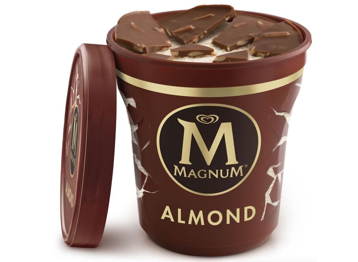 magnum milk chocolate almond ice cream tub