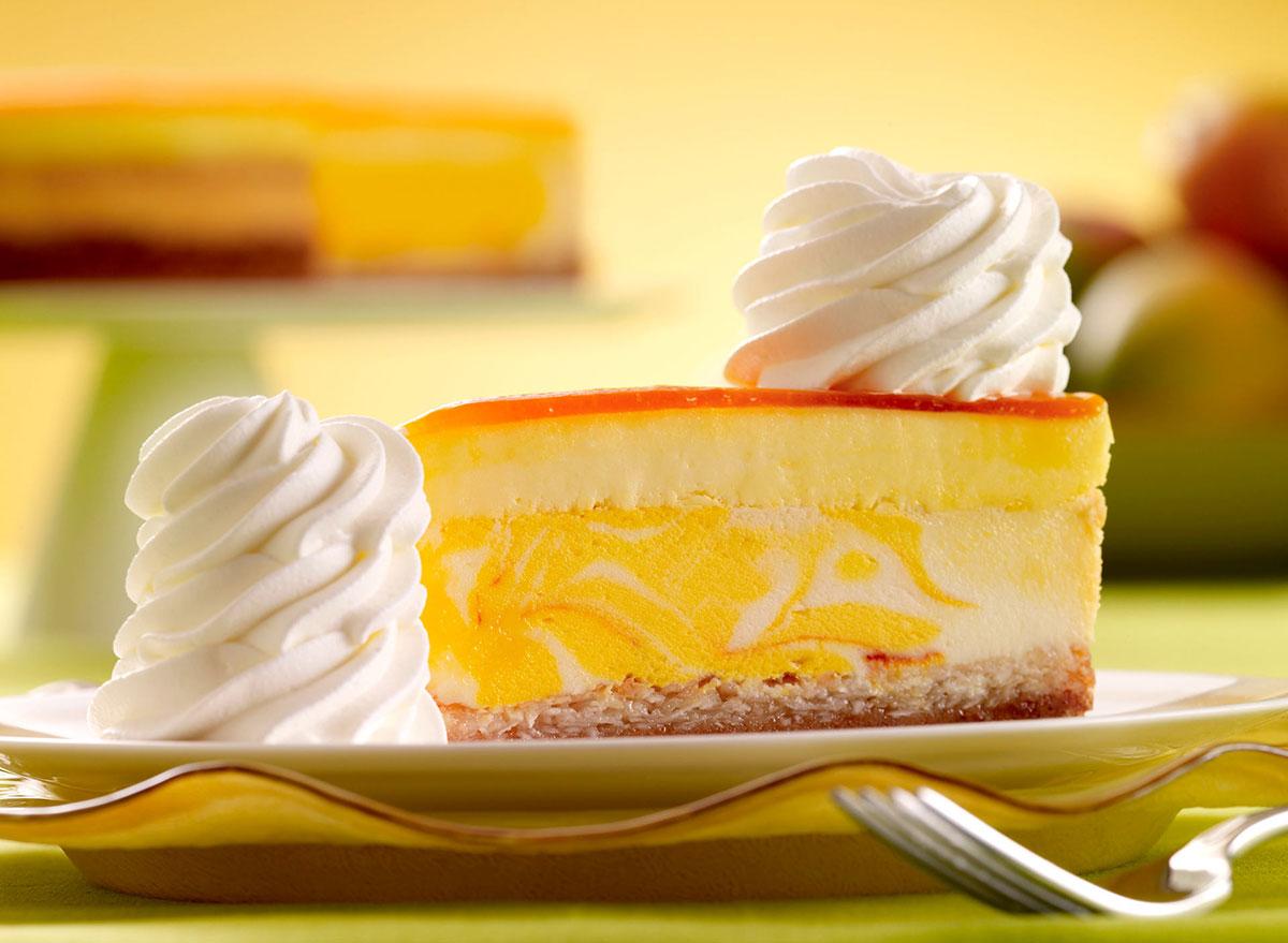 cheesecake factory mango key lime cheesecake slice