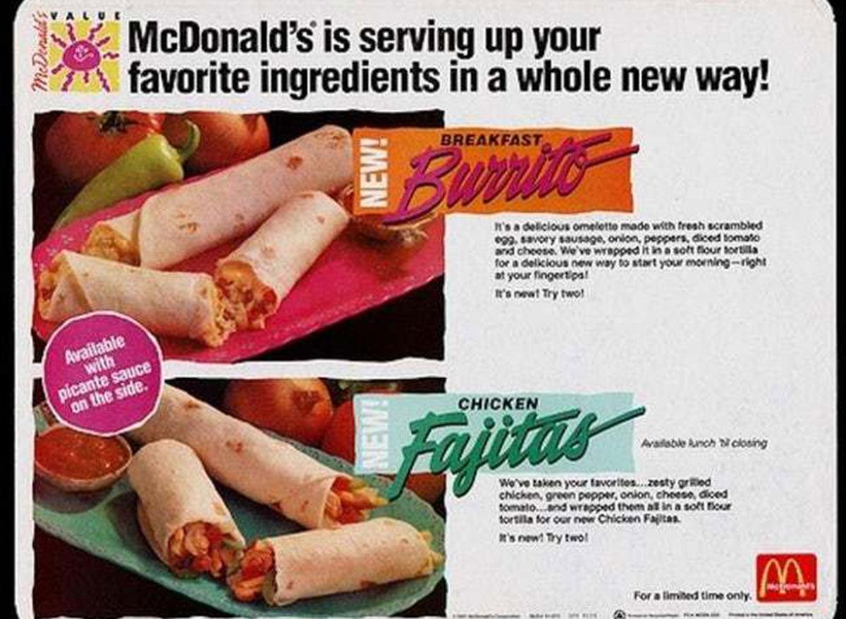 mcdonalds chicken fajitas and burrito