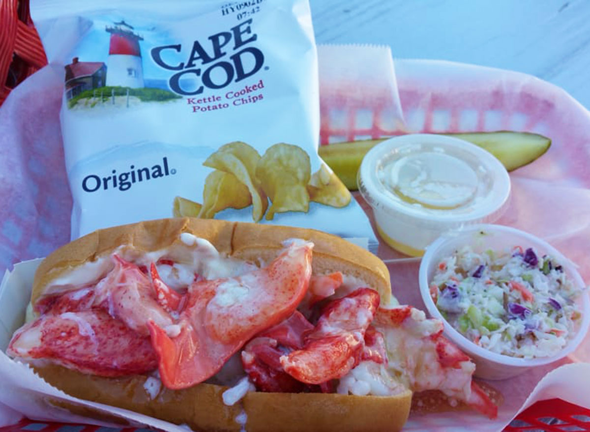 mcloons lobster shack lobster roll chips coleslaw
