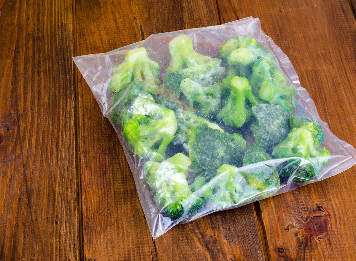 old frozen broccoli in bag