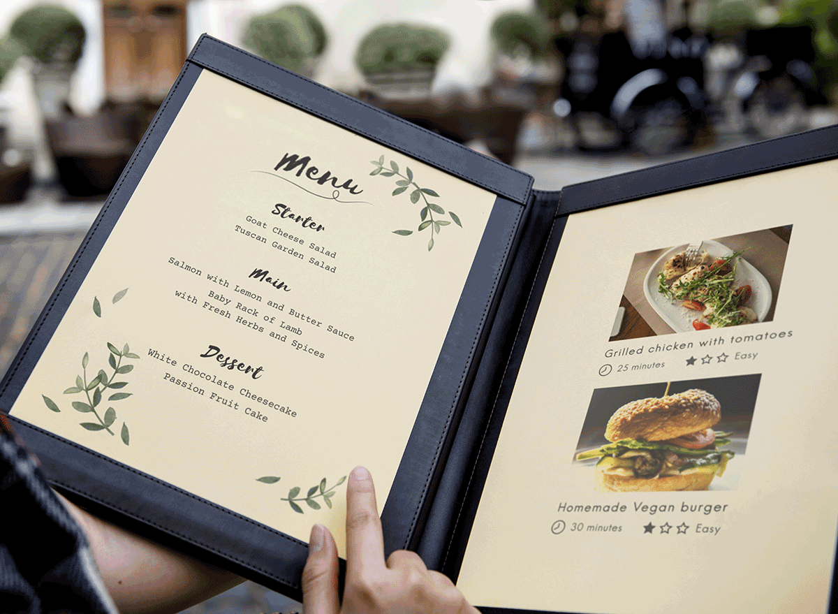 open menu with photos and description of dishes