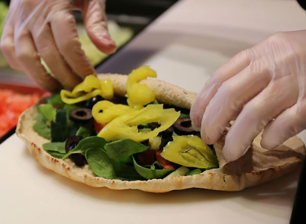 pita pit sandwich being made