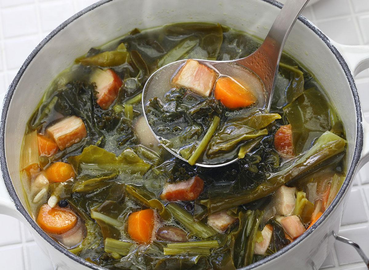 bowl of potlikker soup