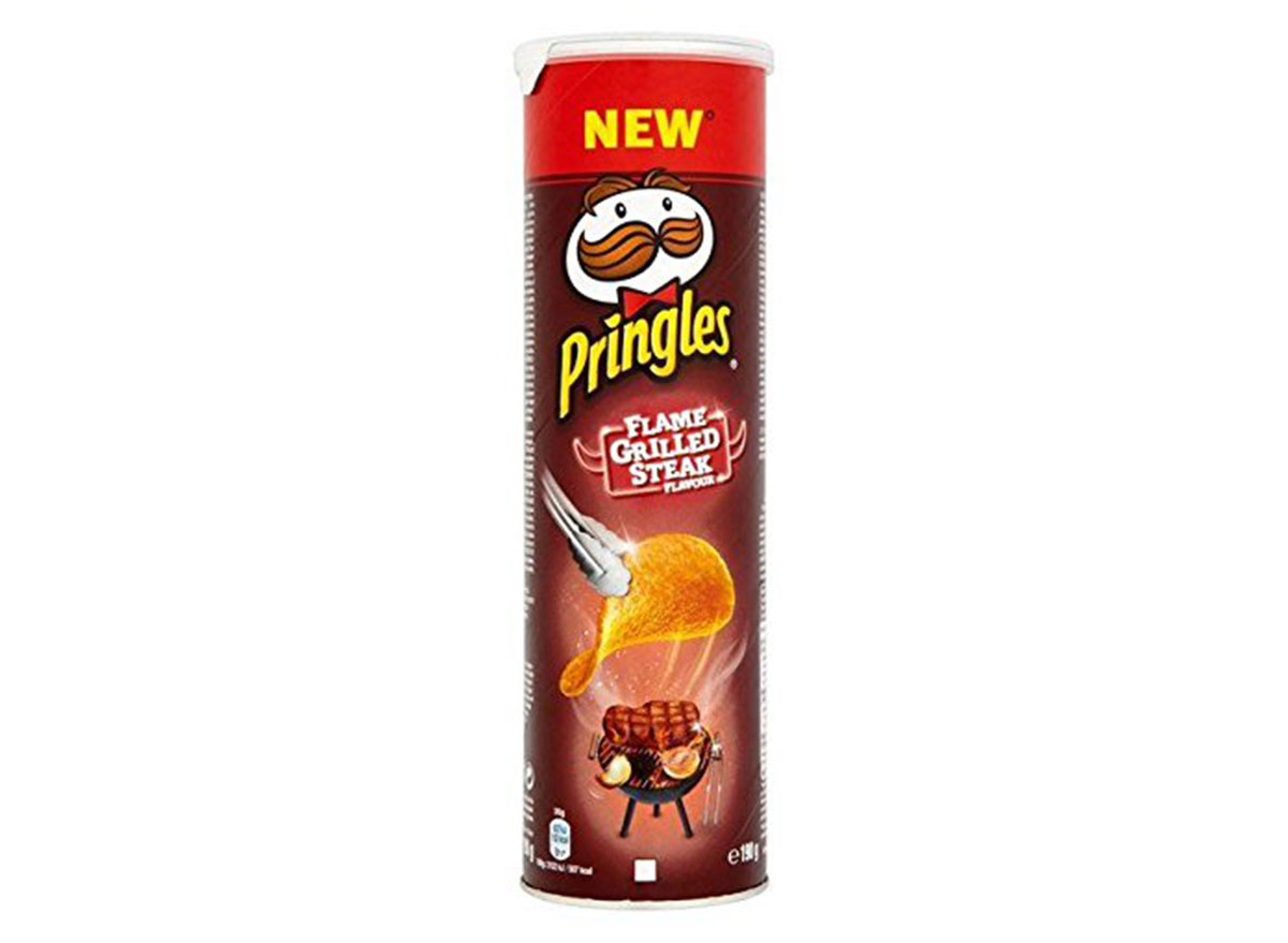 pringles flame grilled steak flavored chips can