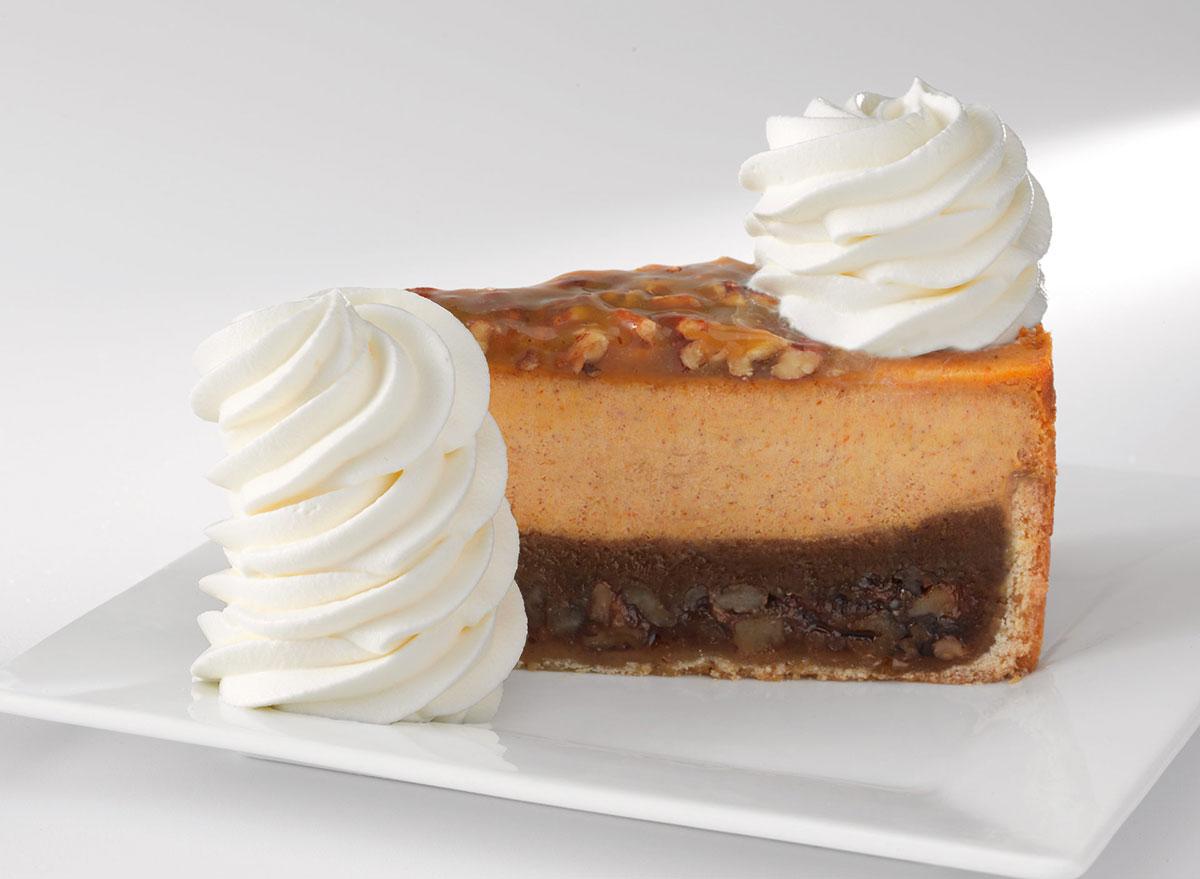 cheesecake factory pumpkin pecan cheesecake slice