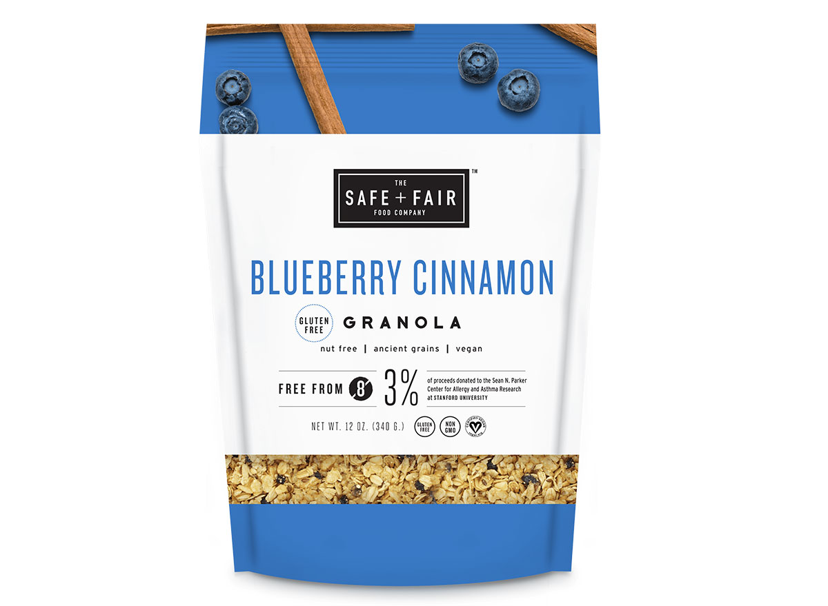 safe fair blueberry cinnamon granola bag
