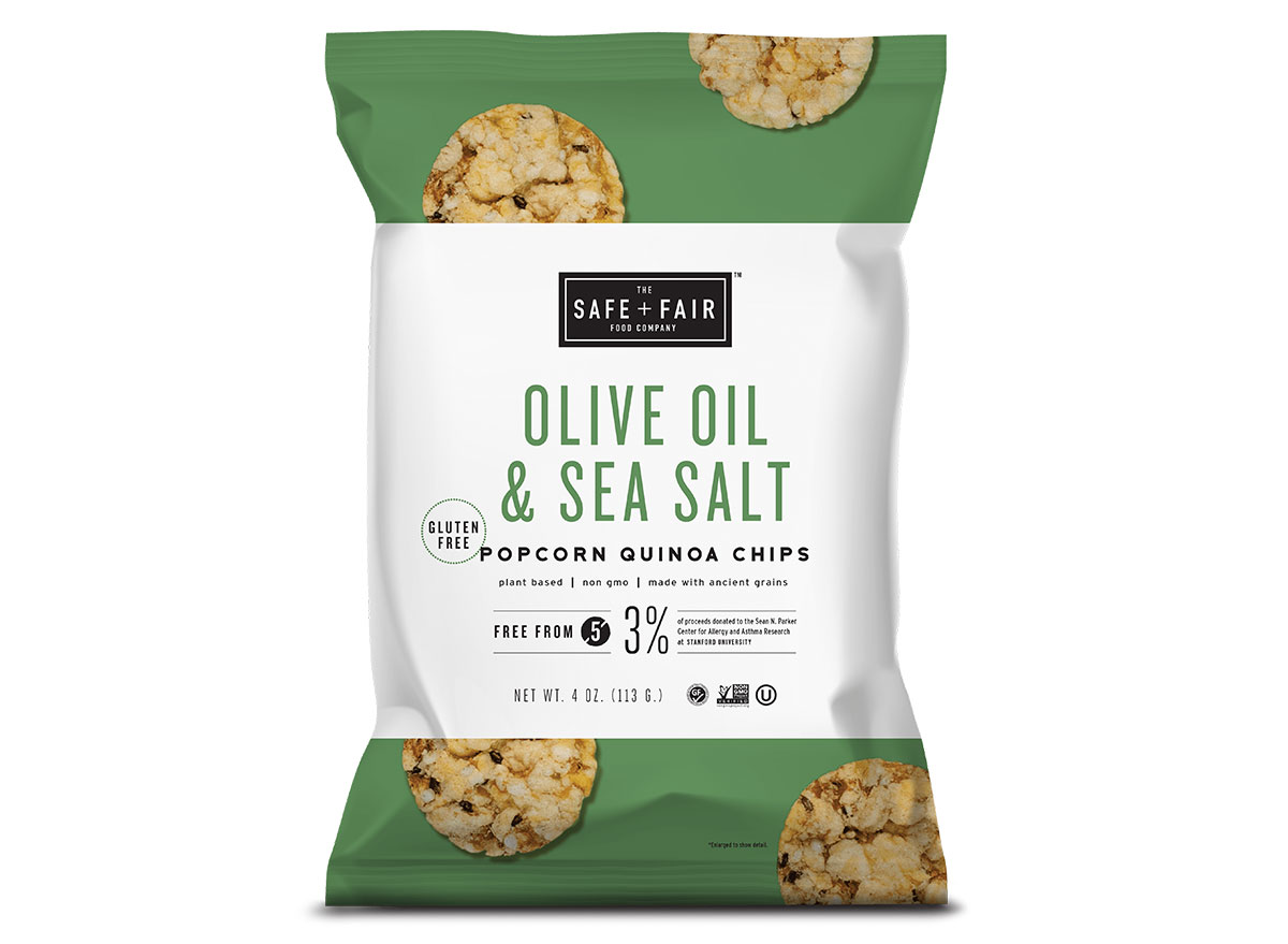 safe fair popcorn olive oil and sea salt chips bag
