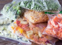separated frozen vegetables in bags