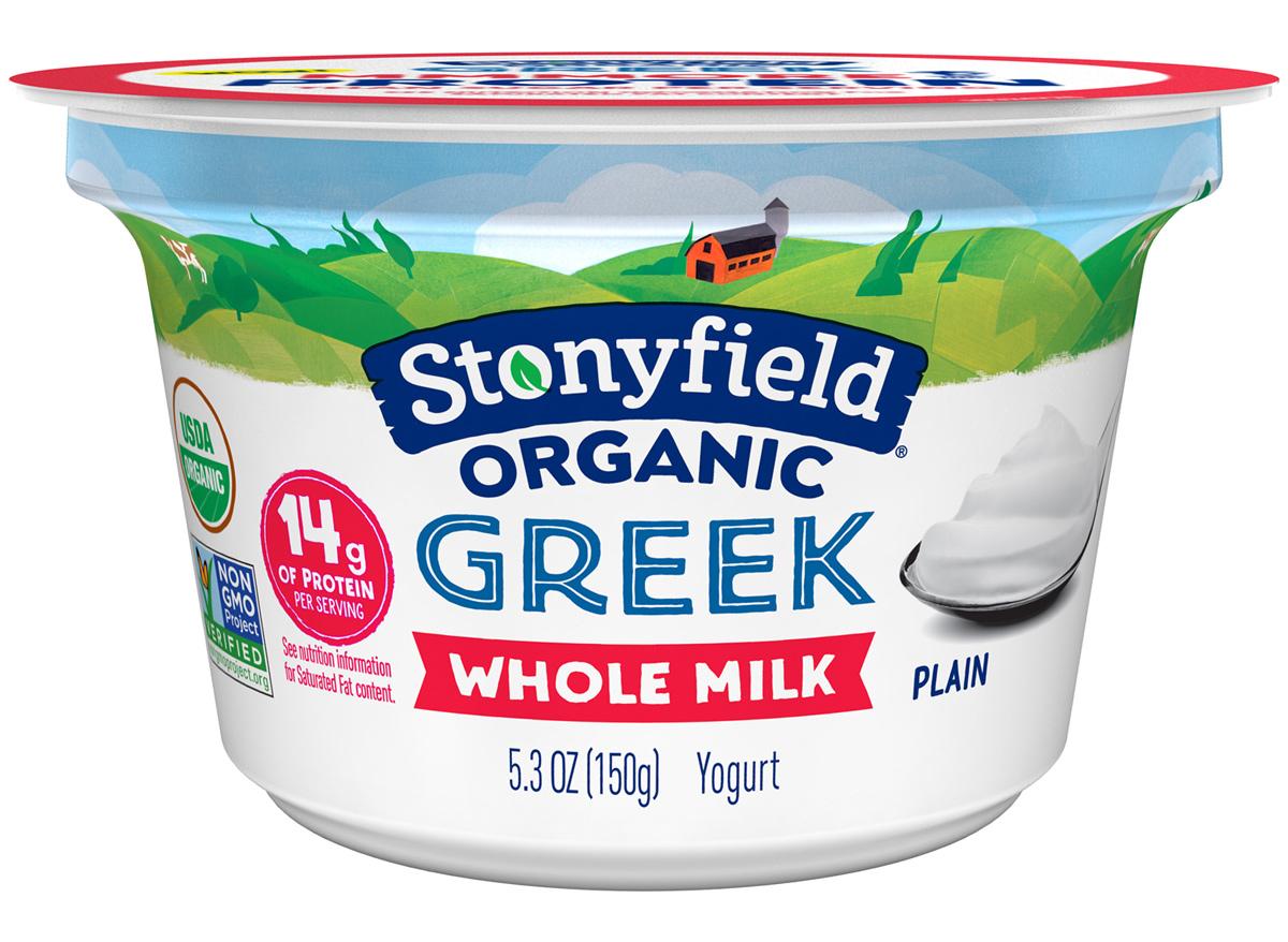 stonyfield organic greek whole milk plain yogurt