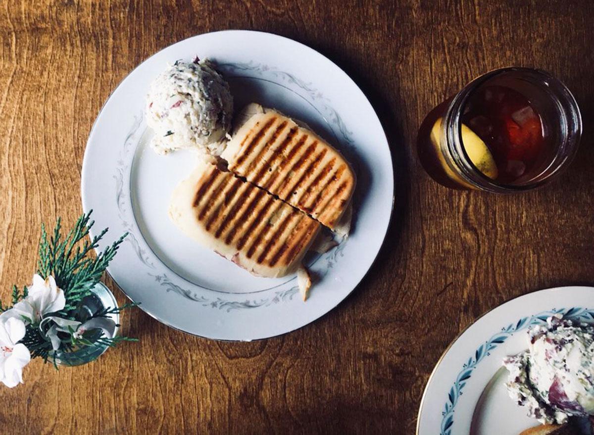 the pickled palate raspberry turkey sandwich potato salad sweet tea