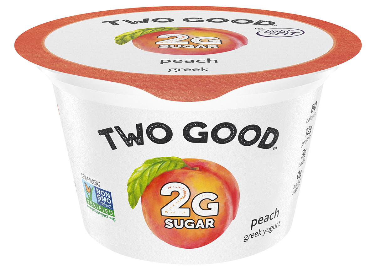Two good peach flavored greek yogurt with 2 grams of sugar