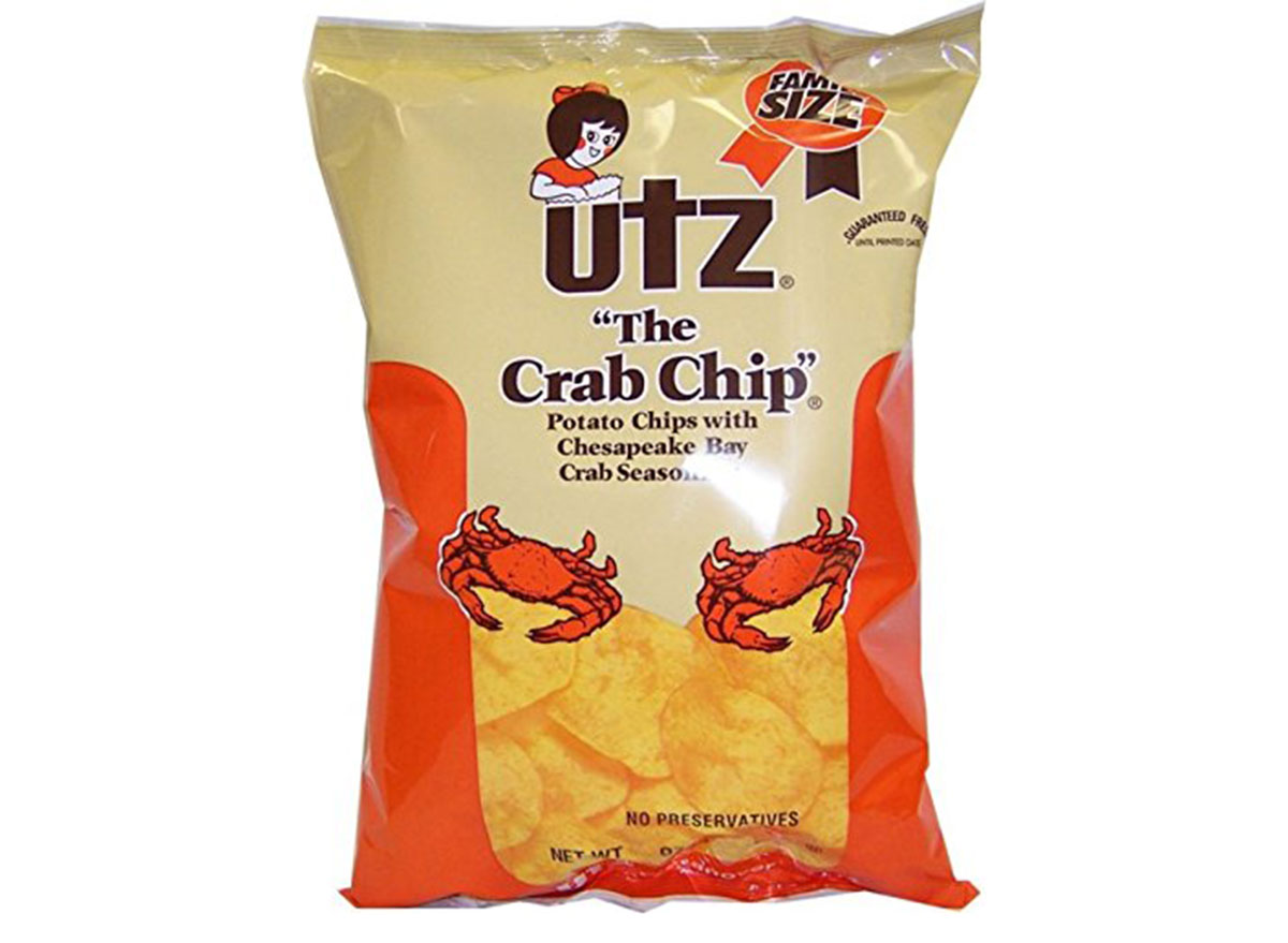 utz the crab chip flavored bag