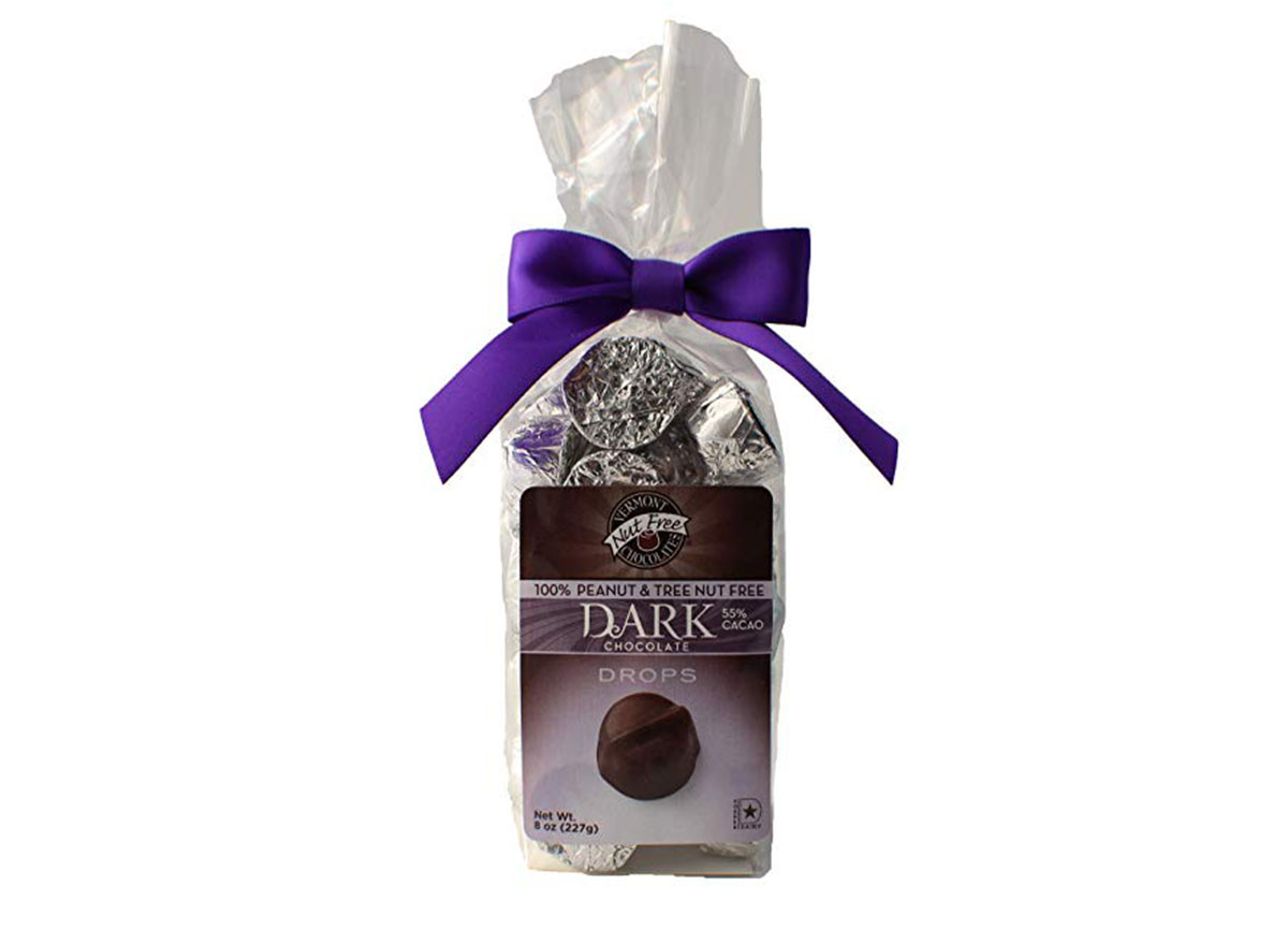vermont nut free dark chocolate drops candy bag