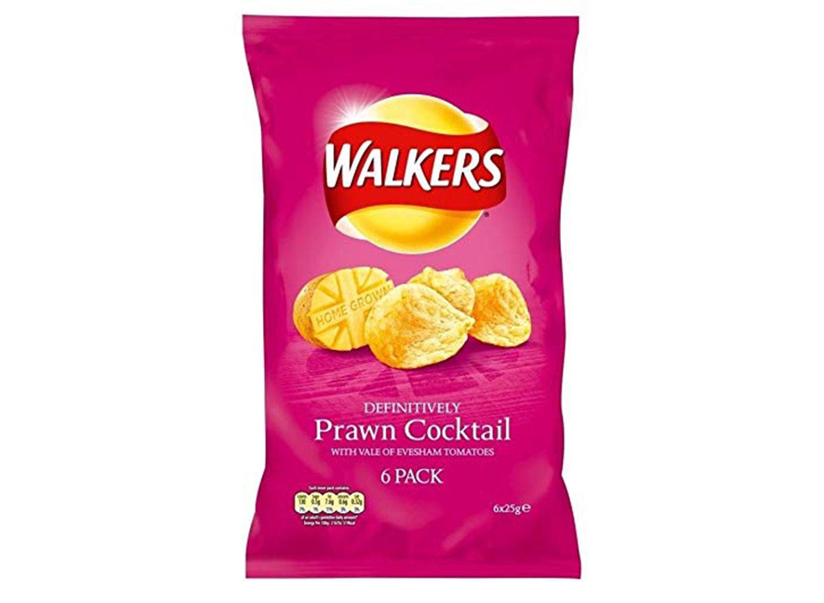 walkers prawn cocktail flavored chips bag