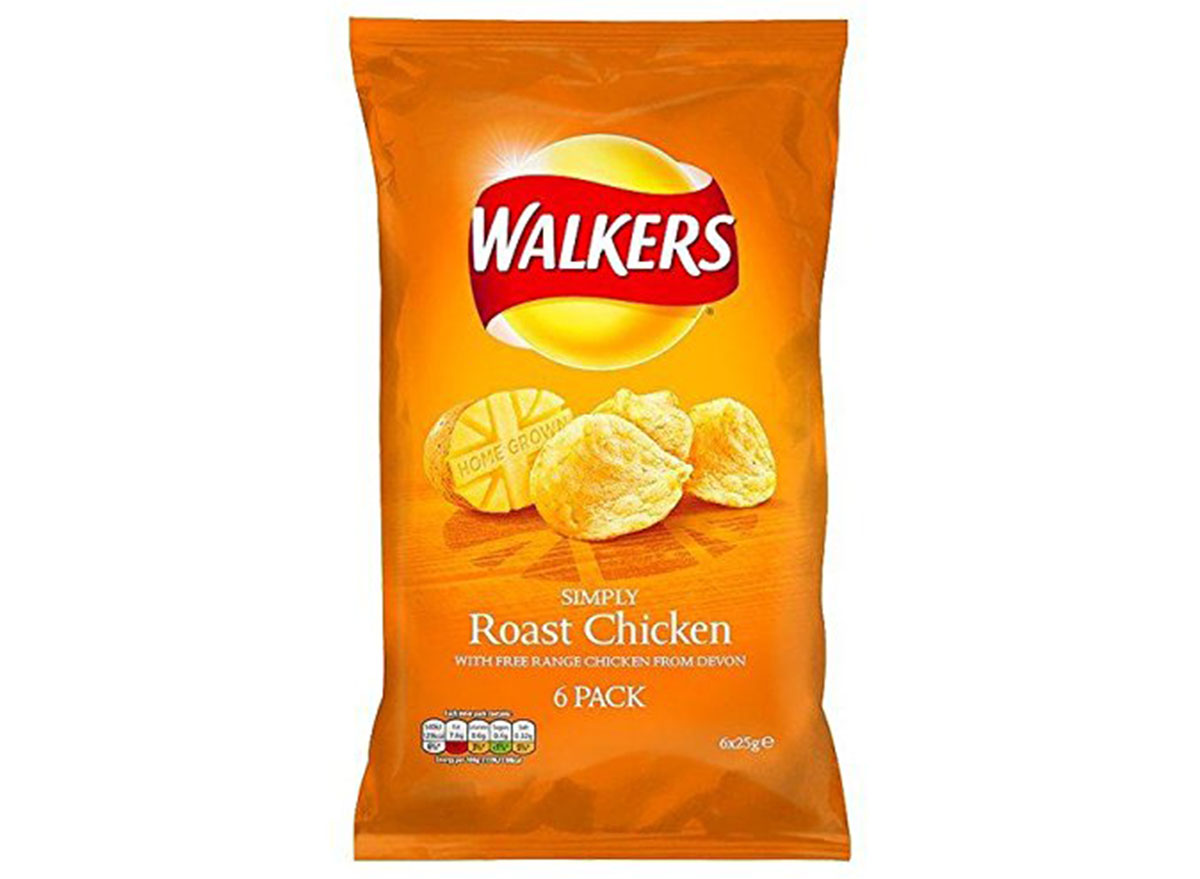 walkers roast chicken flavored chips bag
