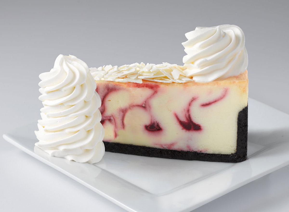 cheesecake factory white chocolate raspberry truffle cheesecake slice